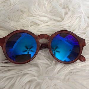 Circular Sunglasses w/ Blue Lenses